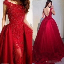 Wine Red Beading Appliques Tulle Over skirt Evening Dresses 2019 Modest Scoop Neck Lace Backless Prom Formal evening Dress