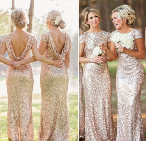 New Hot Uk New Wedding Bridesmaid Sequin Rose Gold Prom Short