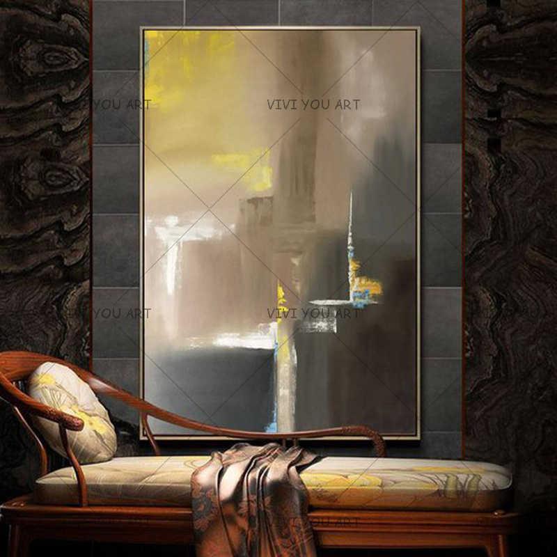 Besar Lukisan Minyak Asli Modern Abstrak Seni Putih Amber Kuning Lukisan Minyak Seni Kontemporer Desain Interior Dinding Seni