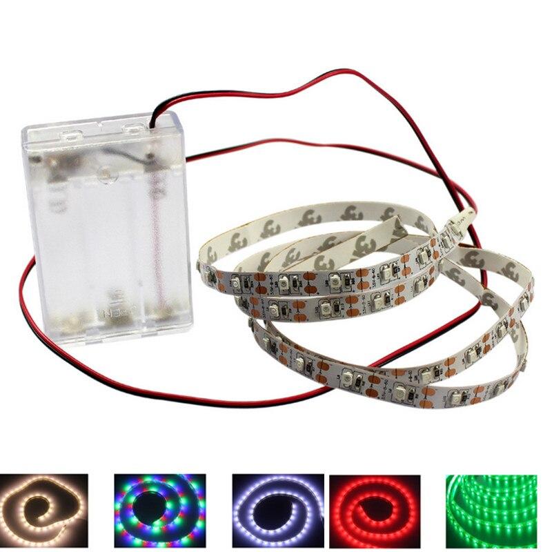 1pcs Aa Battery 5v Powered Led Strip Light 3528 Smd 1m