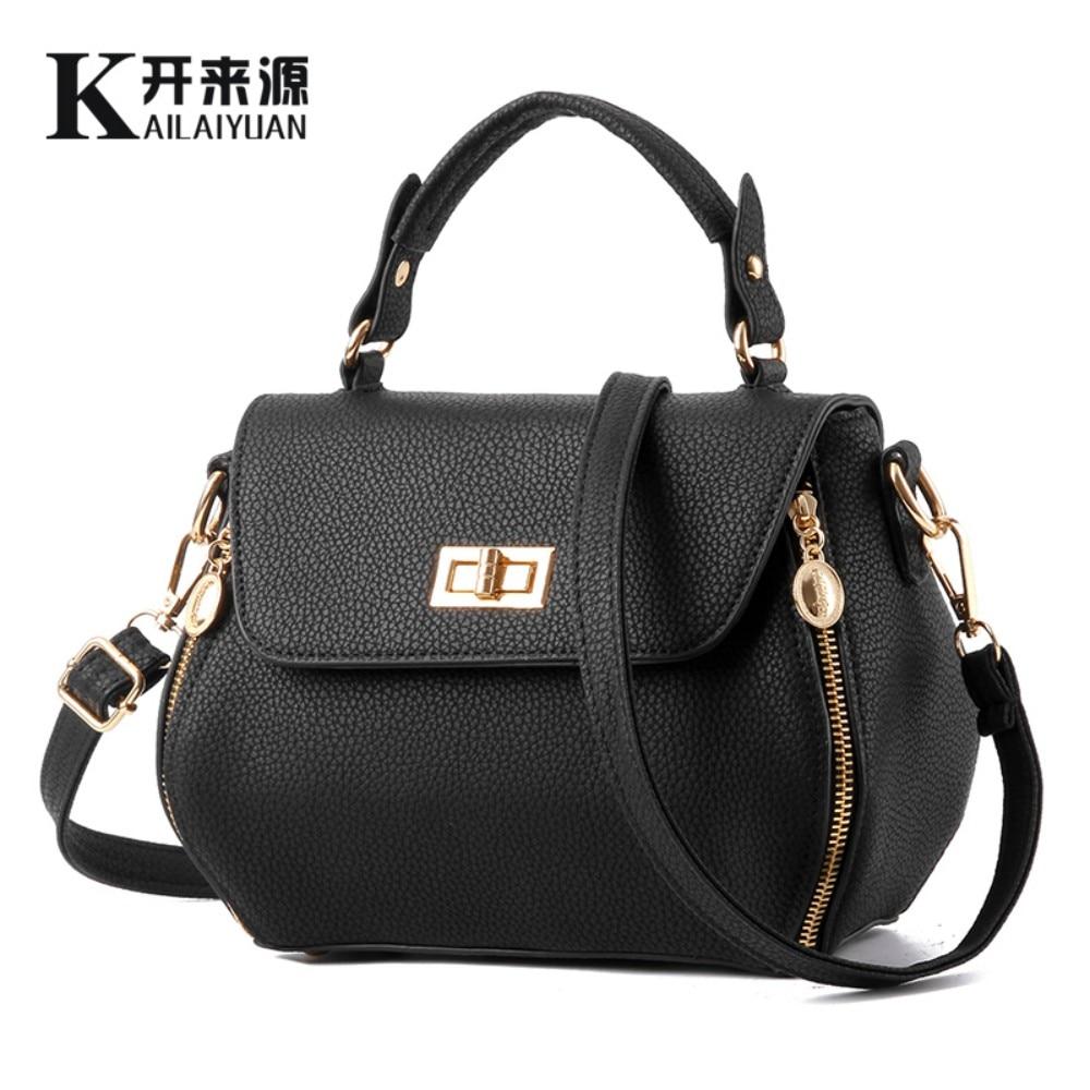KLY 100% Genuine leather Women handbags 2018 New Korean stereotypes embroider line fashion handbags Messenger Shoulder Handbag