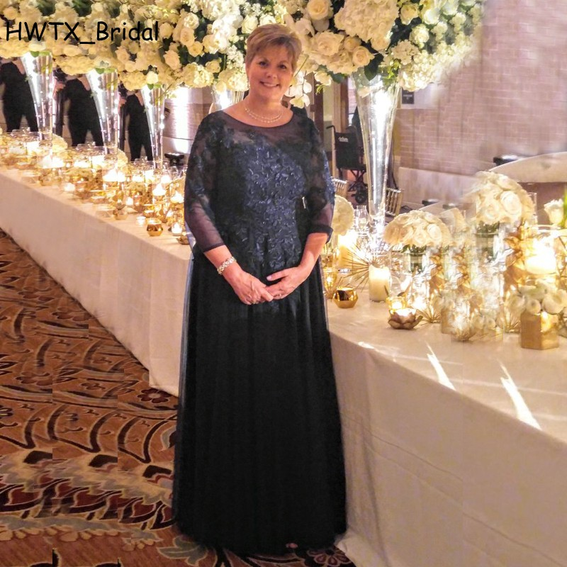Navy Blue Long Mother Of The Bride Dresses Plus Size Lace Beaded Sheer Scoop Long Sleeve ...