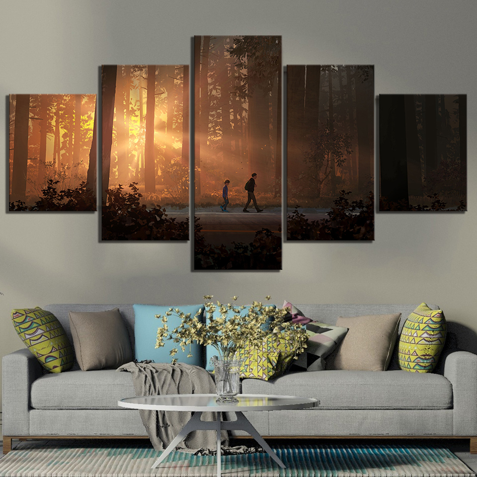 5 Piece Life Is Strange 2 Game Poster Paintings HD Forest Paintings Landscape Wall Art for Living Room Decor 2