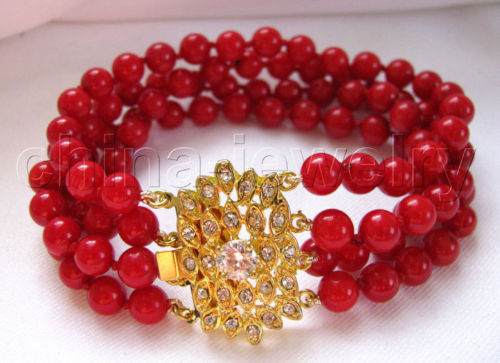 10x10 jewerly free shipping >> Charming 8 4row 7mm perfect round red coral bracelet