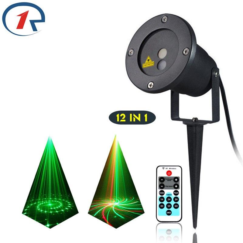 ZjRight IR Remote 12pattern Red Green laser light waterproof outdoor lawn projection laser stage light bar dj light disco light