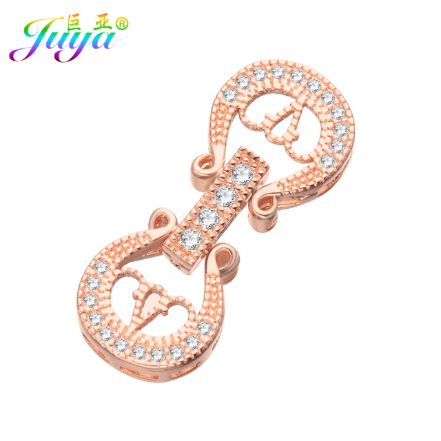 Juya DIY Pearls Jewelry Clasp Accessories Gold Silver Fastener Closure  Clasps For Women Natural Stones b99be9745443