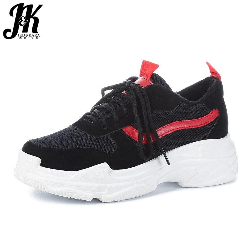 JK Flock Women' S Vulcanize Shoes Round Toe Mesh Short Plush Footwear Lady Platform Shoes Girl Sneakers Shoes Woman 2018 Autumn