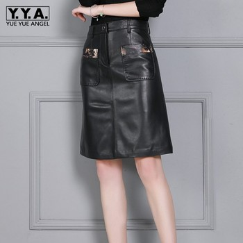 New Fashion Women Knee Length Sheepskin Real Leather Skirts Plus Size High Waist Ladies Slim Fit Korean Office Work Wrap Skirt
