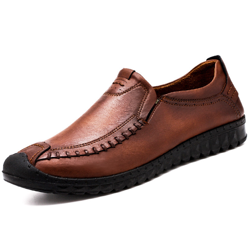 brown Cuir Plein Air Confortable Plat Casual En Hommes Brown Étanche Chaussures black Red Doux Split 2019 5Kpf6qFKw