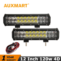 2PCS SET 12 Inch OSRAM LED Light Bar 120W AWD Pickup Led Work Light Combo Beam