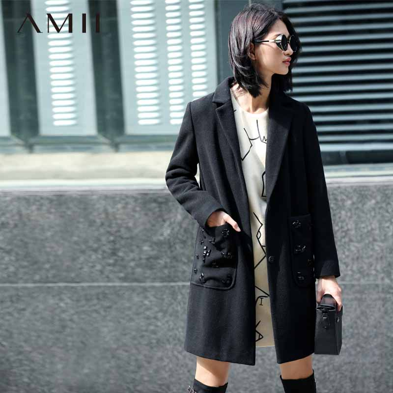Amii Casual Women Woolen Coat 2017 Winter Beading Wide-waisted Covered Button Female Wool Blends