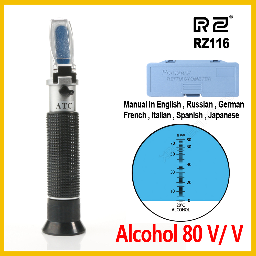 RZ medidor Alcoómetro Álcool Refratômetro 0 ~ 80% V/V ATC Ferramenta Portátil concentração Hidrômetro RZ116 espíritos vinho tester