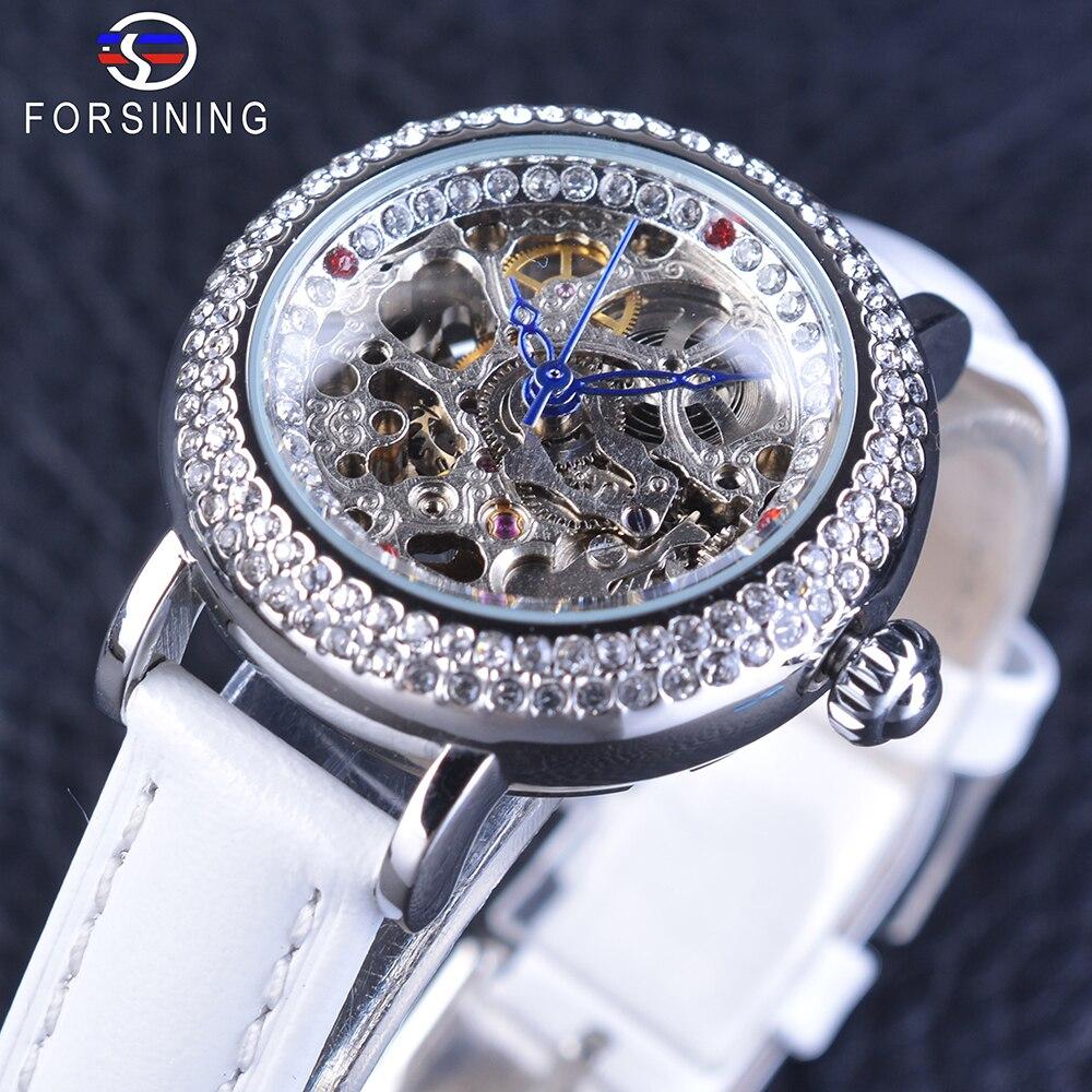 Forsining Women's Fashion Geneva Diamond Bezel Blue Hands Skeleton Watch White Genuine Leather Automatic Watch Casual Clock
