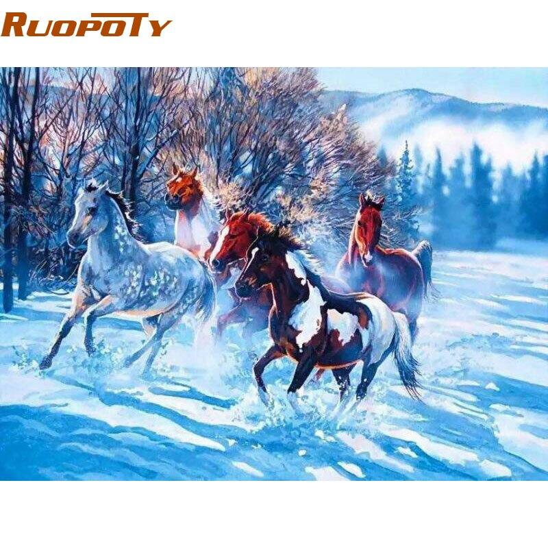 RUOPOTY caballo animales DIY pintura por números arte de la pared de ...