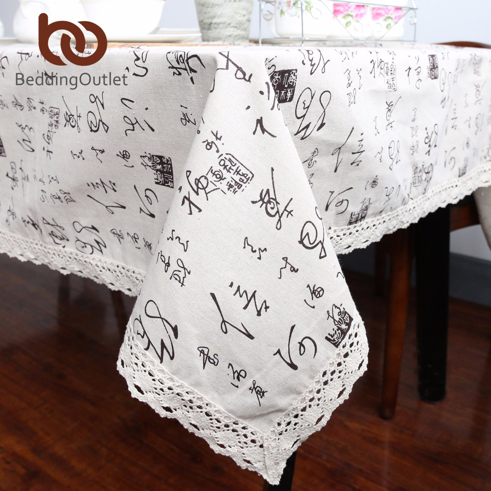 BeddingOutlet Chinese Character Tablecloth Lace Edge Dining Table Cloth Cotton Linen Multi Sizes Table Cover With Macrame Hot