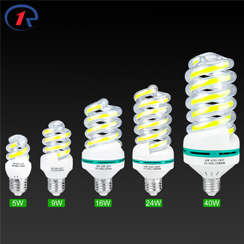 ZjRight E27COB spiral LED Energy Saving lighting bulb 5W 9W 16W 24W 40W home,Living room,indoor,library,office,factory tube Lamp