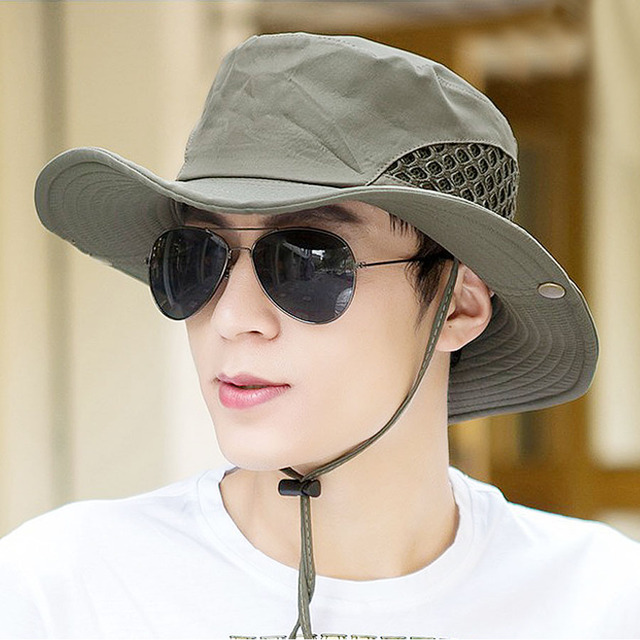 summer breathable fishing hats caps for men solid foldable air holes design sun cap male fisherman