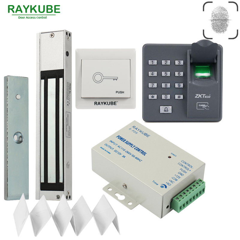 RAYKUBE Door Access Control System Kit 180KG/280KG Electric Magnetic Lock + Biometric Fingerprint Reader RFID Password Keypad f807 tcp ip biometric fingerprint access control machine digital electric rfid reader scanner sensor code system for door lock