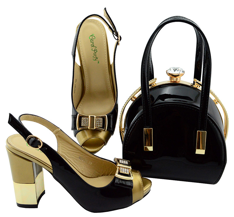 Black Color Heels Shoes and Handbag to Match Italian Wedding African Shoes and Handbag Matching Set Italian Shoe and Bag MD001 matching italian shoe and bag set ladies wedding shoes and bag to match