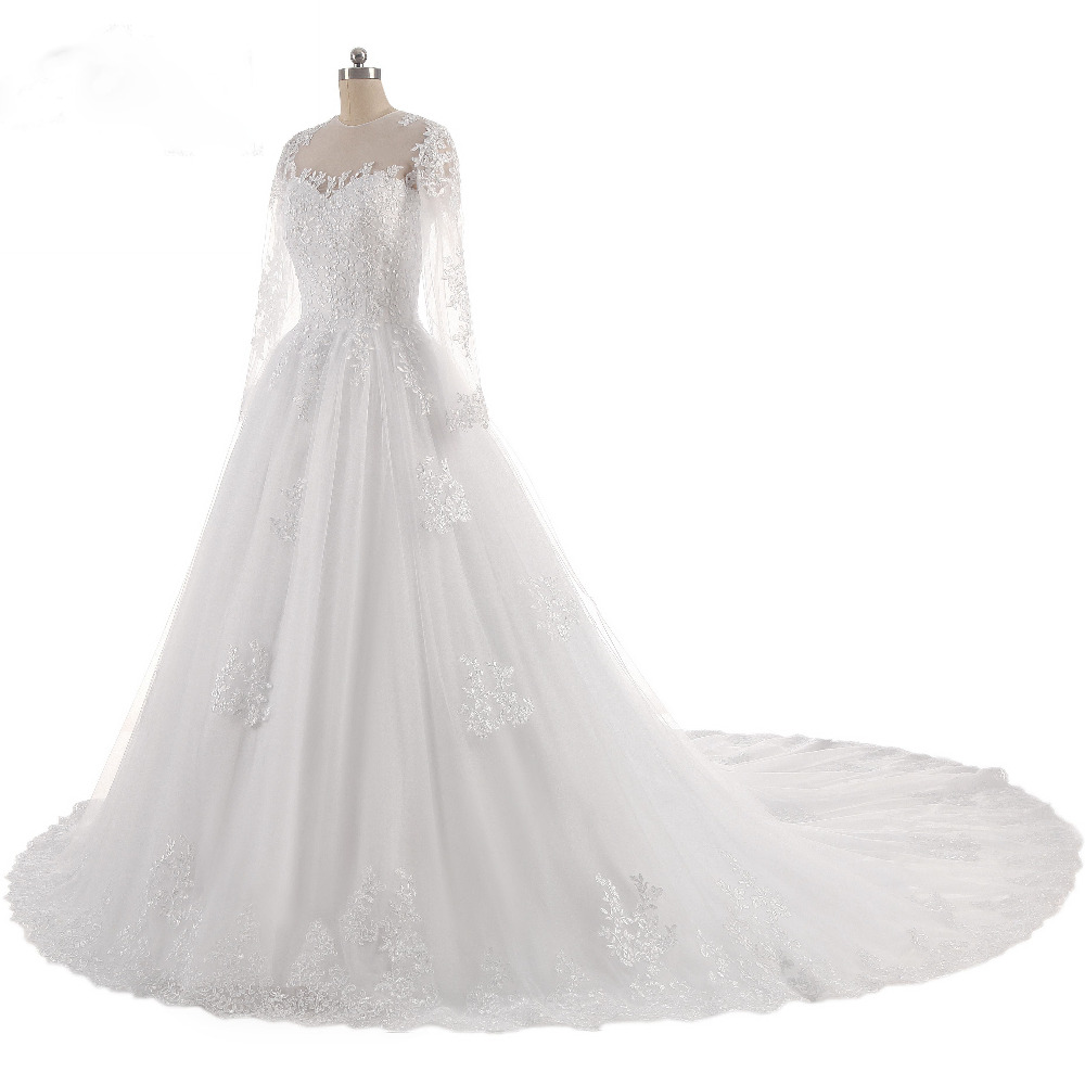 Lover Kiss Vestido De Noiva O-Neck Iusion Back Long Sleeve Wedding Dress Lace Ball Gown Wedding Gowns Custom-Made Wedding Dress 3