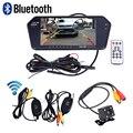 Bluetooth Handsfree Suporte Ultra Slim 7 ''Retrovisor Do Carro Monitor de Jogador MP5 Tela Cheia Sem Fio De Backup Câmera Night Vision