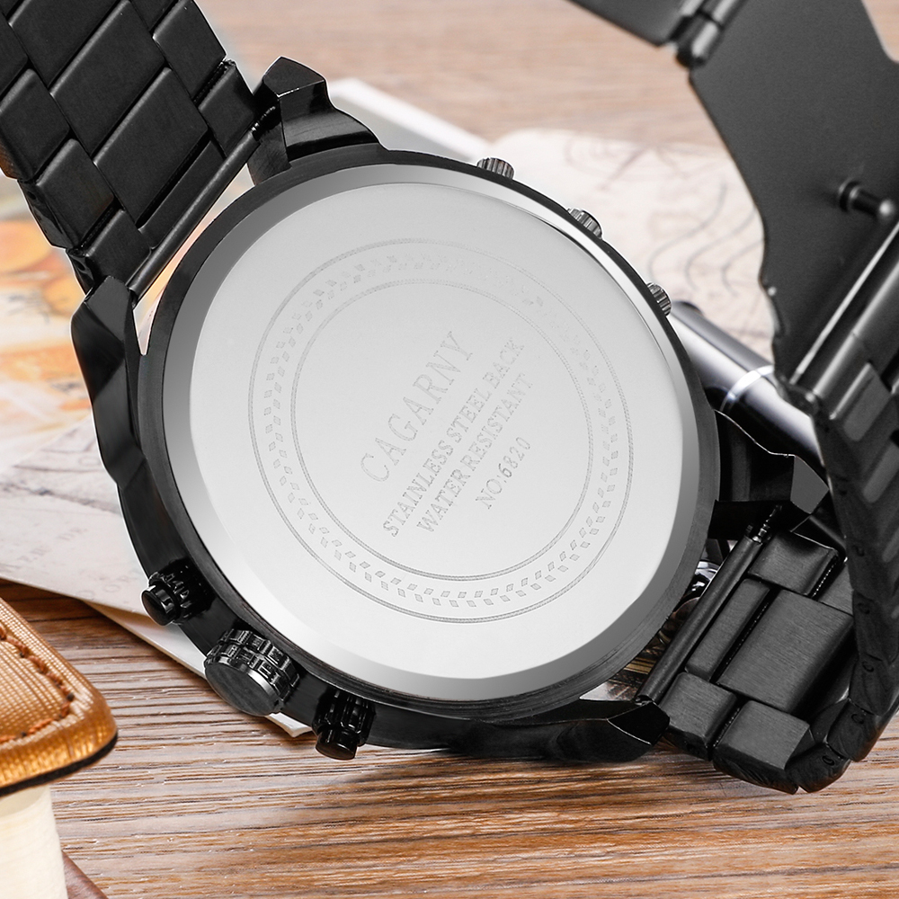 Image 3 - Cool Wrist Watch Men Luxury Brand Cagarny Mens Quartz Watches Waterproof Black Stainless Steel Clock Military relogio masculino-in Quartz Watches from Watches