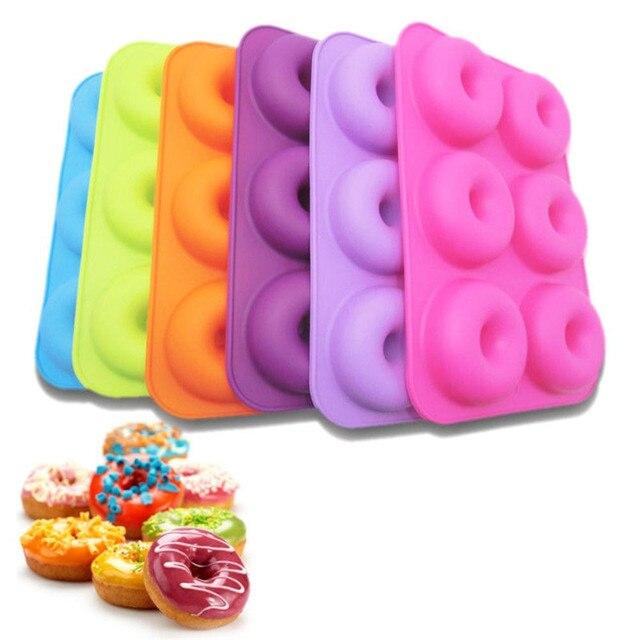 6 Cavity silikon çörek fırın tepsisi el yapımı Bakeware seti DIY Donut kek silikon Bakeware kalıpları ve kek dekorasyon araçları