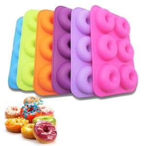 Image 1 - Силиконовая форма для выпечки пончиков, 6 полости, набор для выпечки ручной работы, инструменты для украшения тортов