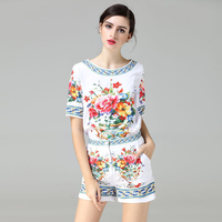 OLN 2PCS Women Sets Tops Shorts Pants Suits High Quality Print Floral Fashion Ethnic Vintage O