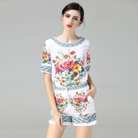 OLN 2PCS Women Sets Tops Shorts Pants Suits High Quality Print Floral Fashion Ethnic Vintage O