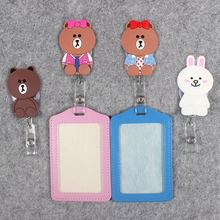 Cute Little Bear Rabbit Hospital Badge Scroll Office Reel Scalable Girls Nurse Entrance School Studen Guard Card PU CardHolder