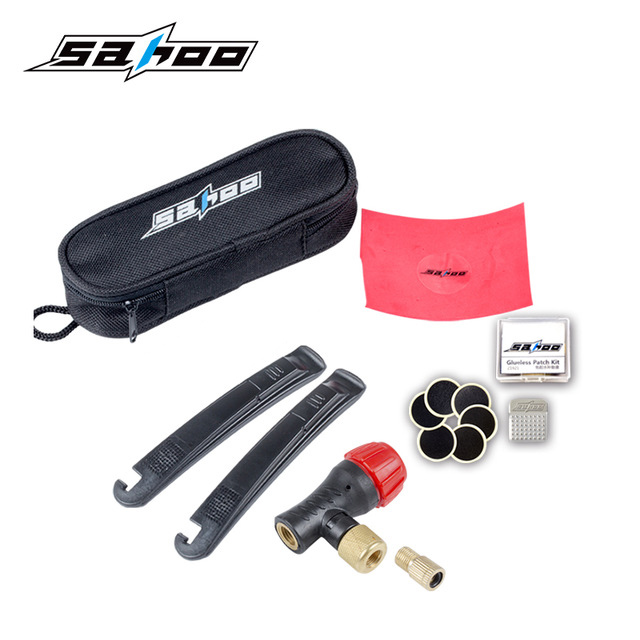 Hot sale SAHOO Bicycle Repair Kit Tools Set Bike Tyre Tire CO2 Inflator Pump Compressed Cilindro Patch Crowbar Tools