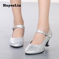 HoYeeLin мягкие танцы каблучки для женщин дамы бвечерние альные вечерние Танго вальс современные обувь для танцев золото/серебро Indoor подошва