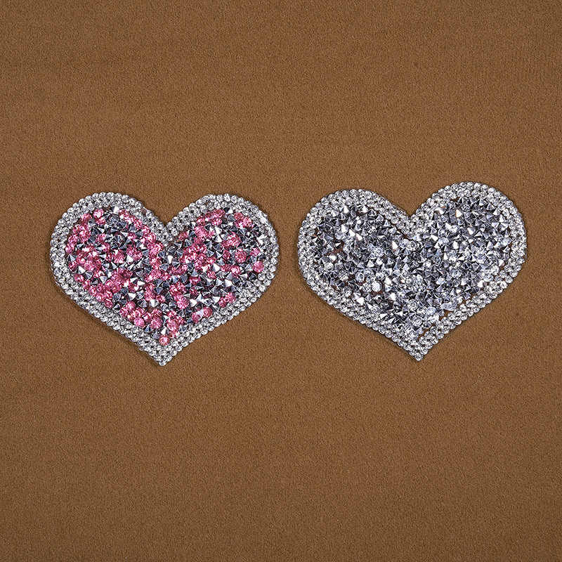 10pcs Sparkling Rhinestone love heart Embroidered Patch Iron on Sewing  Crystal Applique For Jeans Clothing Decorations a9fe28c98bec
