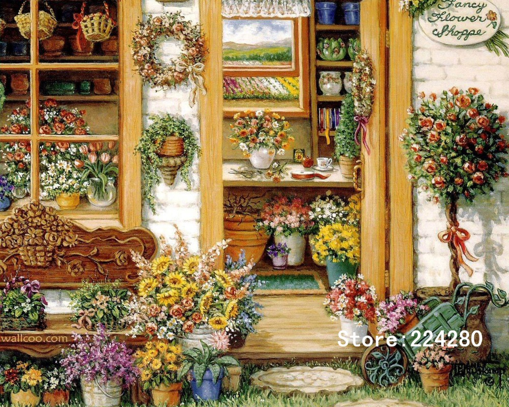 New Romantic Garden Flower Racks Needlework,For Embroidery,DIY DMC 14CT Unprinted Cross Stitch Kits Cross-Stitching Decor Crafts