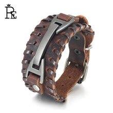 цена на RE Vintage black brown punk mens cuff bracelets & bangles braided leather bracelet charm male men jewelry accessories J35