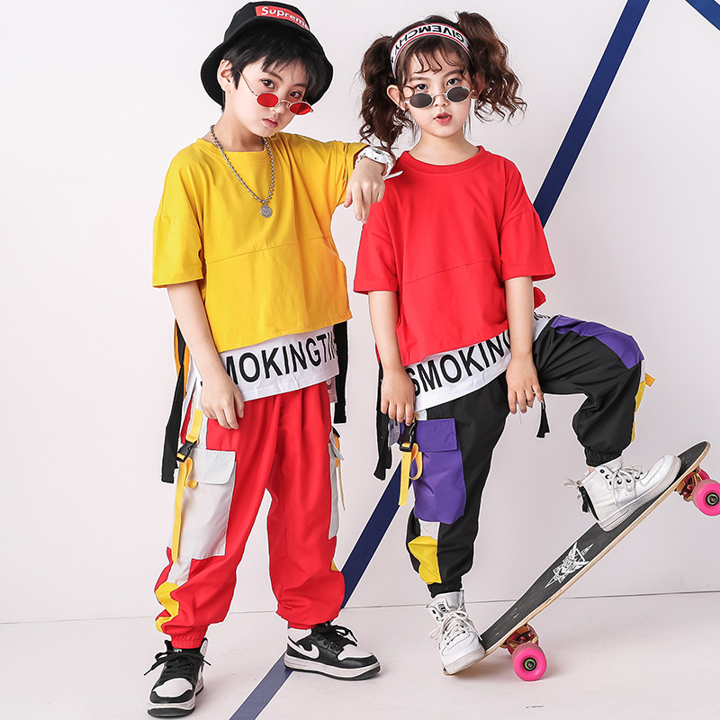 Modern Jazz Outfits For Kids Girl Boy Street Dance Hip Hop Costumes Hiphop T-shirt Pants Children's Stage Performance Clothes