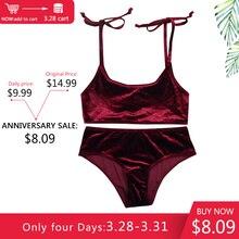 Lurehooker Sexy Velvet Bikini Set Solid Low Waist Swimsuit Sport Bikinis for Women  Two piece halter Swimwear Beach Bathing Suit