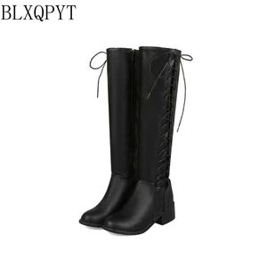 Image 2 - BLXQPYT 2018 New Big size 33 50 boots women Autumn Winter warm bottine femmes zapatos mujer shoes Knee  High woman 2012