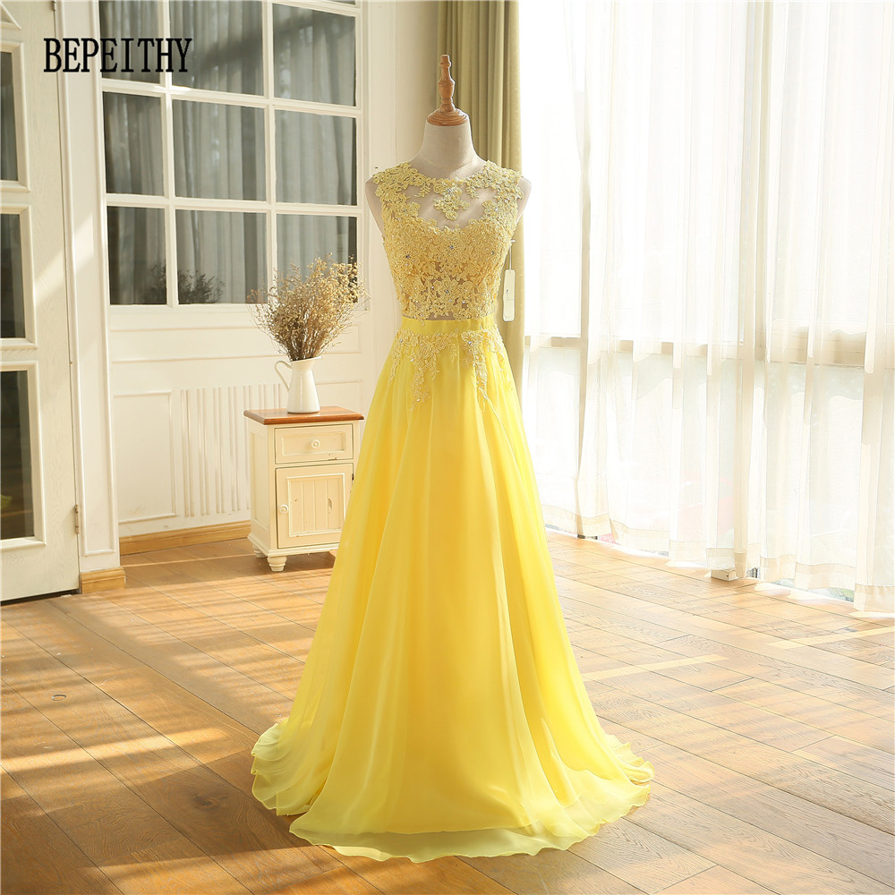 BEPEITHY Sexy See Through Lace Top Long Prom Dresses Vestido De Festa Longo Yellow Chiffon Cheap Evening Dress Party 2019