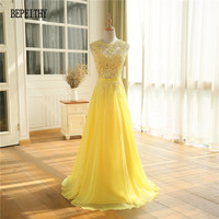 Sexy See Through Lace Top Long Prom Dresses Vestido De Festa Longo Yellow Chiffon Cheap Evening