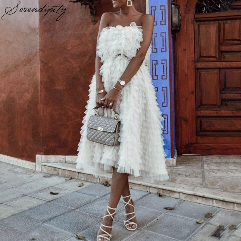 SRDP Off Shoulder Ruffle White Cake Dress Women Elegant Autumn Sexy Tube  Mesh Dress Sweet Strapless Princess Vestidos Robe