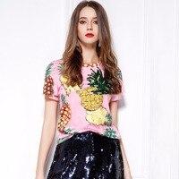 2017 Summer Top Hot Sequined Print Pineapple Women T Shirts Short Sleeve O Neck Summer Tee