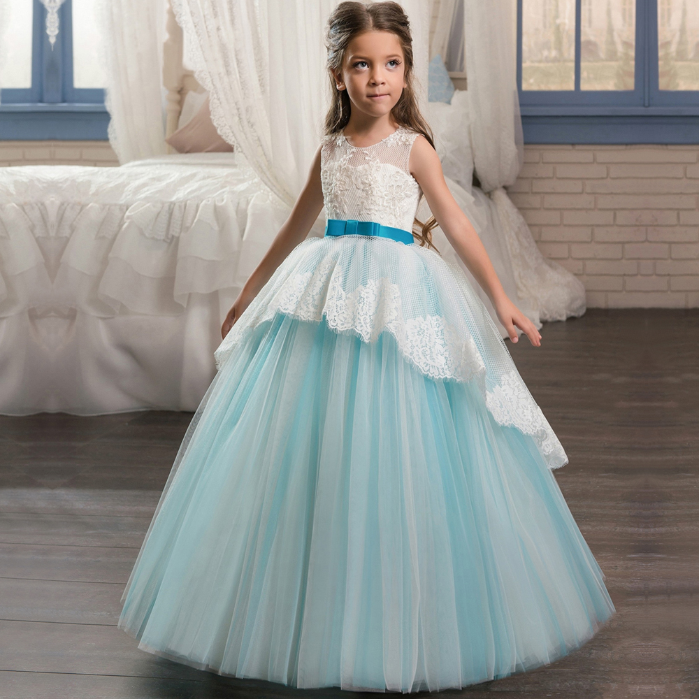 Scoop Neckline Pageant Party Dresses for Girls 8 Bow Sash Children ...