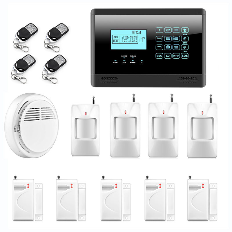 Wireless GSM SMS Text Home Security Alarm System, Remote Controller 850/900/1800/1900MHz, Touch Screen, Fire Smoke Sensor wireless gsm sms text touch keypad home house alarm system emergency panic 850 900 1800 1900mhz outdoor siren fire smoke sensor