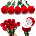 1PCS Red Rose Flower Jewelry Box Case Container for Ring Earring Ear Drop Gift Package Case Box Red Rose Engagement  DE02100
