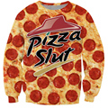 New Fashion Really a Pizza Slut Crewneck Sweatshirt Jumpers Women/Men Autumn Long Sleeve Outerwear Funny 3D Hoodies Pullovers