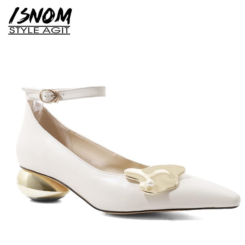 ISNOM الكاحل حزام مضخات النساء وأشار اصبع القدم زخرفة المعادن الأحذية غير عادية الكعوب الأحذية الإناث جلد البقر أحذية الحفلات امرأة-في أحذية نسائية من أحذية على  مجموعة 1