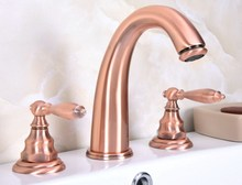 Basin Faucet 3 Hole Bathroom Sink Deck Mounted Cold Hot Antique Red Copper Mixer Tap zrg065