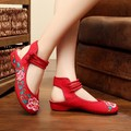 Fashion Women's Shoes Old Peking Mary Jane Flat Heel Denim Flats With Embroidery Soft Sole Casual Shoes Size 34-41 SMYXHX-E0008